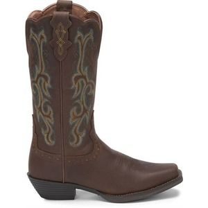 Justin Square toe Leather Boots 8.5 Western Cowboy